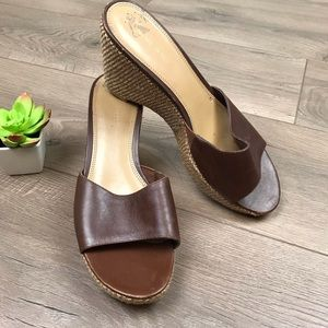 NINE WEST Purifiedo Brown Wedge Slip on Sandals